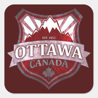 Ottawa Canada red grunge shield square stickers