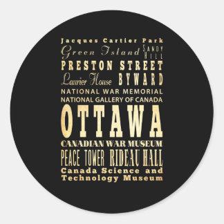 Ottawa City of Canada Typography Art Classic Round Sticker