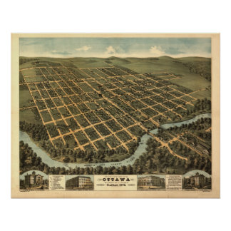 Ottawa Kansas 1872 Antique Panoramic Map Poster