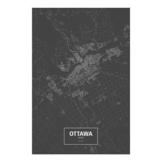 Ottawa, Ontario (white on black) Poster