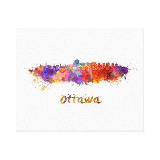 Ottawa skyline in watercolor canvas print