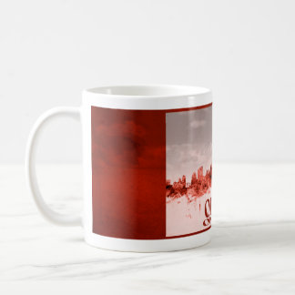 Ottawa skyline with red grunge coffee mug