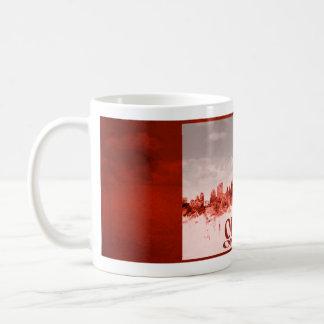Ottawa skyline with red grunge basic white mug