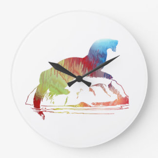 Otter art large clock