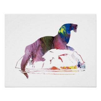 Otter art poster