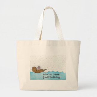 Otter Birthday Large Tote Bag