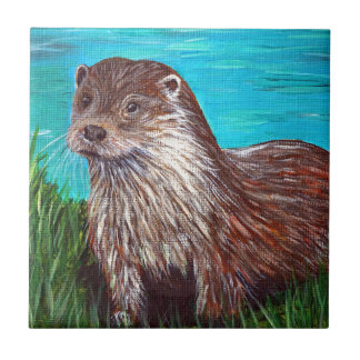 Otter by a River Ceramic Tile