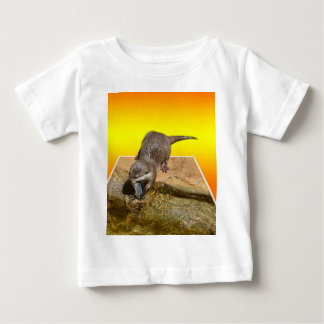 Otter Eating Tasty Fish By His Pond, Baby T-Shirt