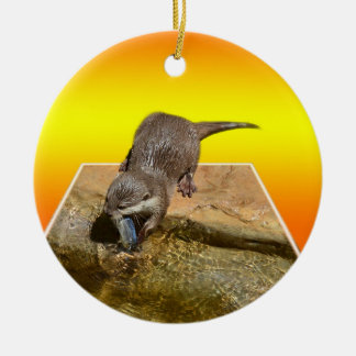 Otter Eating Tasty Fish By His Pond, Ceramic Ornament