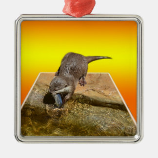 Otter Eating Tasty Fish By His Pond, Metal Ornament