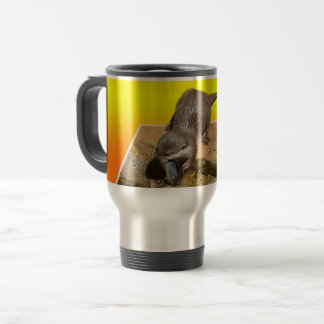 Otter Eating Tasty Fish By His Pond, Travel Mug