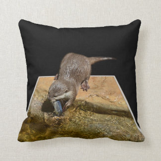 Otter eating Tasty Fish, Popout Art Lounge Cushion