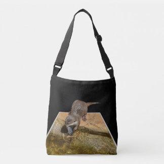 Otter Eating Tasty Fish, Unisex Cross Body Bag