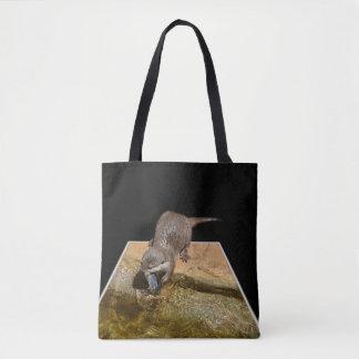 Otter Eating Tasty Fish, Unisex Shopping Bag