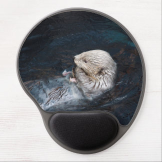 Otter eating water animal nature aquatic wild zoo gel mouse pad