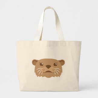 otter face large tote bag