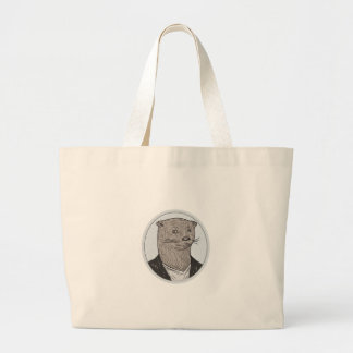 Otter Head Blazer Shirt Oval Drawing Large Tote Bag