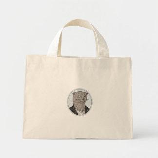 Otter Head Blazer Shirt Oval Drawing Mini Tote Bag