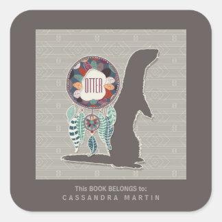 Otter Native American Animal Spirit Book Square Sticker