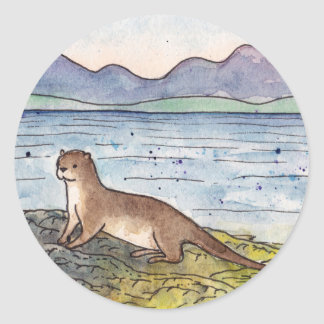 otter of the loch classic round sticker