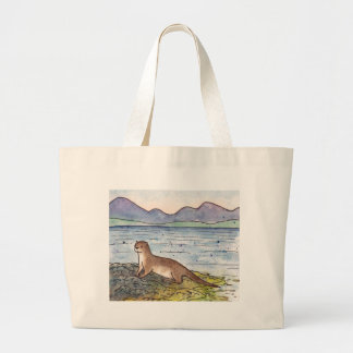 otter of the loch large tote bag
