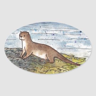 otter of the loch oval sticker