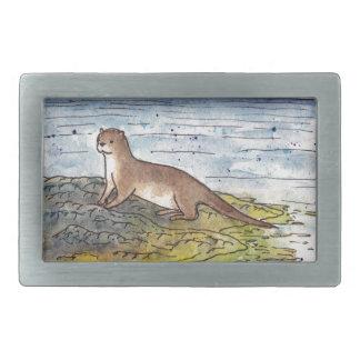 otter of the loch rectangular belt buckles