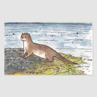 otter of the loch rectangular sticker