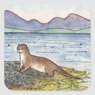 otter of the loch square sticker