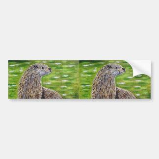 Otter on a River Bank Bumper Sticker