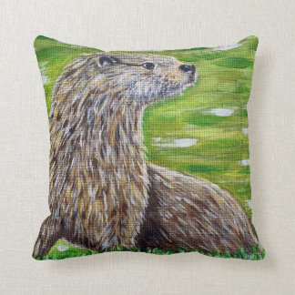 Otter on a River Bank Cushion