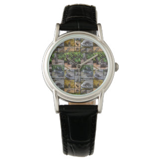 Otter Photo Collage,  Ladies Black Leather Watch
