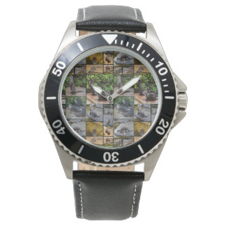 Otter Photo Collage, Mens Leather Watch
