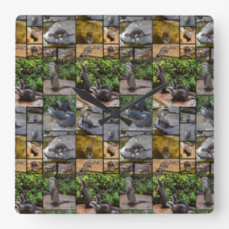 Otter Photo Collage, Square Wall Clock. Square Wall Clock