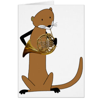 Otter Playing the French Horn Greeting Card