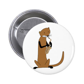 Otter Playing the Saxophone 6 Cm Round Badge