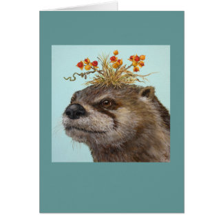otter with bittersweet hat card
