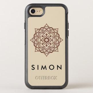 Otterbox Brown Damask pattern on shiny iPhone