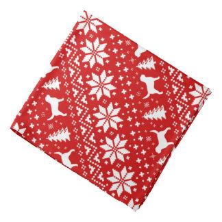 Otterhound Silhouettes Christmas Pattern Red Bandana