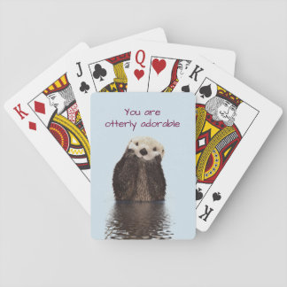 Otterly Adorable Pun with Cute Otter Photo Playing Cards