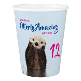 Otterly Amazing Pun with Cute Otter Photo Birthday Paper Cup