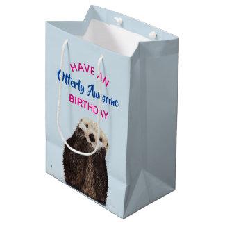 Otterly Awesome Birthday Cute Otter Pun Medium Gift Bag