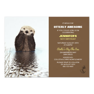 Otterly Awesome Cute Otter Nautical Birthday Card