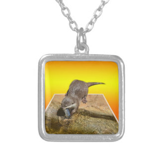 Otterly Orange, Silver Plated Necklace