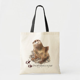 Otters left footprints on my heart Funny Animal Tote Bags