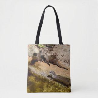 Otters Sunbaking  On Rocks, Tote Bag