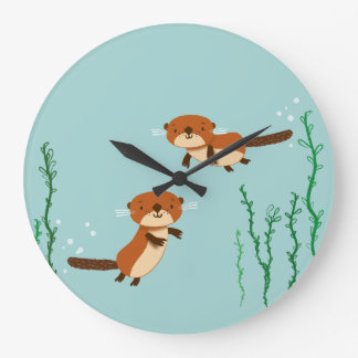 Otters Swimming Large Clock