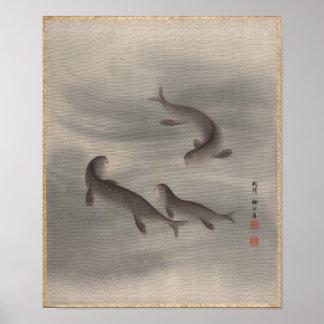 Otters Swimming, Seki Shūkō, Japan Poster