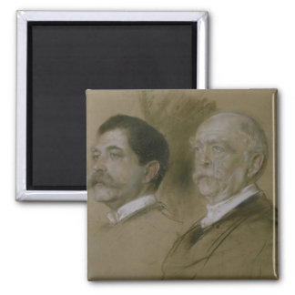 Otto von Bismarck and his Son Herbert Square Magnet