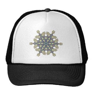 Ottoman floral pattern motif mesh hats